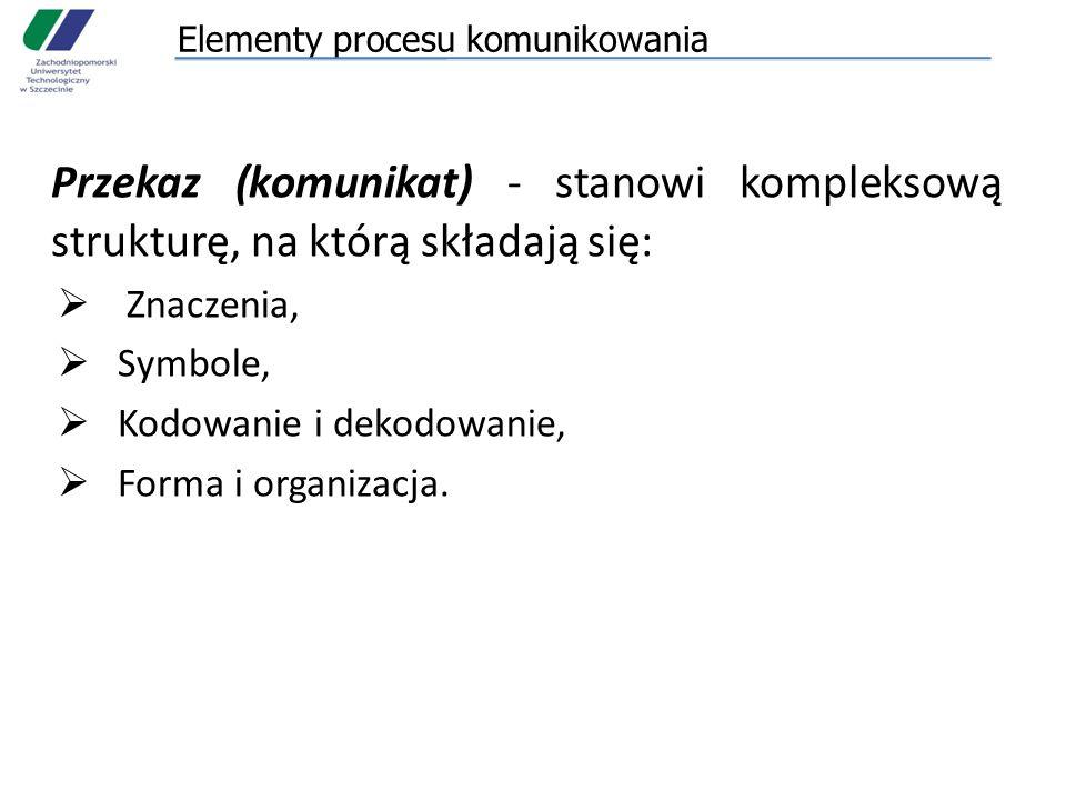 Elementy procesu komunikowania Przekaz (komunikat) - stanowi kompleksową strukturę, na którą składają się:  Znaczenia,  Symbole,  Kodowanie i dekod