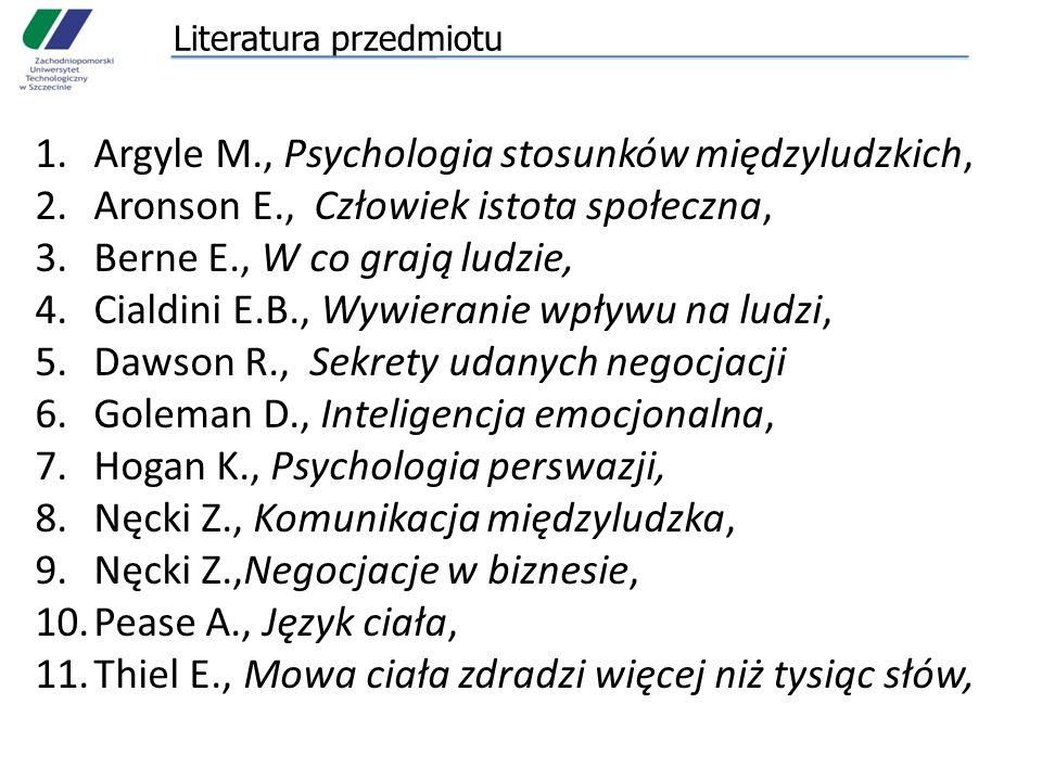 Literatura przedmiotu 1.Argyle M., Psychologia stosunków międzyludzkich, 2.Aronson E., Człowiek istota społeczna, 3.Berne E., W co grają ludzie, 4.Cialdini E.B., Wywieranie wpływu na ludzi, 5.Dawson R., Sekrety udanych negocjacji 6.Goleman D., Inteligencja emocjonalna, 7.Hogan K., Psychologia perswazji, 8.Nęcki Z., Komunikacja międzyludzka, 9.Nęcki Z.,Negocjacje w biznesie, 10.Pease A., Język ciała, 11.Thiel E., Mowa ciała zdradzi więcej niż tysiąc słów,