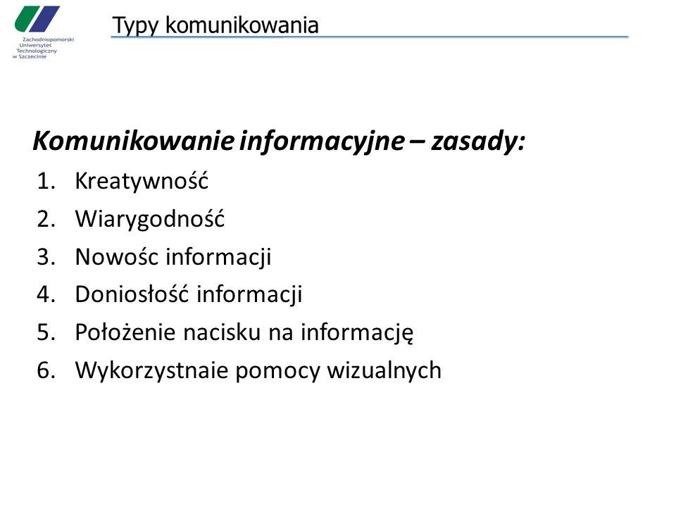Typy komunikowania Komunikowanie informacyjne – zasady: 1.Kreatywność 2.Wiarygodność 3.Nowośc informacji 4.Doniosłość informacji 5.Położenie nacisku na informację 6.Wykorzystnaie pomocy wizualnych