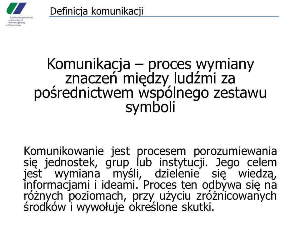 Definicja komunikacji Komunikacja – proces wymiany znaczeń między ludźmi za pośrednictwem wspólnego zestawu symboli Komunikowanie jest procesem porozu