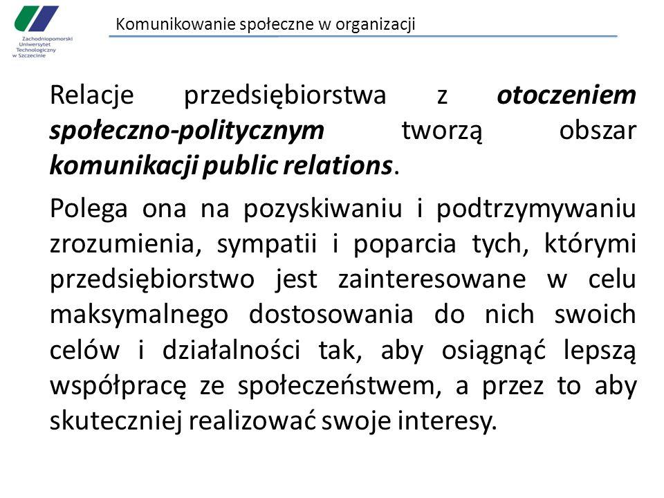 Komunikowanie społeczne w organizacji Relacje przedsiębiorstwa z otoczeniem społeczno-politycznym tworzą obszar komunikacji public relations. Polega o