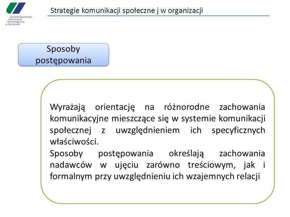 Strategie komunikacji społeczne j w organizacji Sposoby postępowania Wyrażają orientację na różnorodne zachowania komunikacyjne mieszczące się w syste
