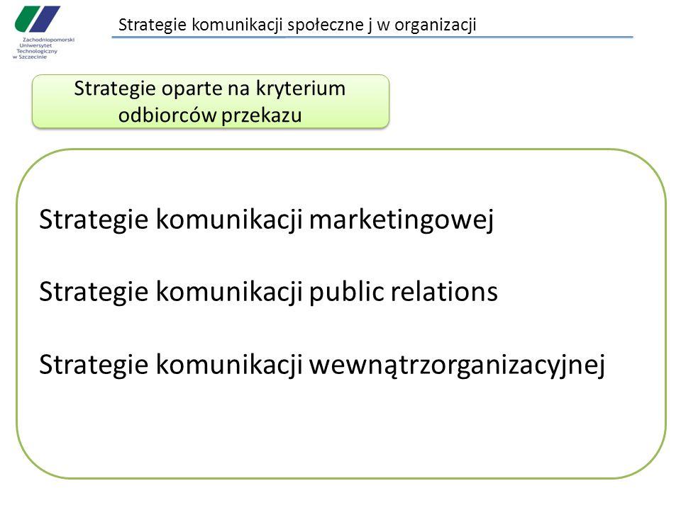 Strategie komunikacji społeczne j w organizacji Strategie oparte na kryterium odbiorców przekazu Strategie komunikacji marketingowej Strategie komunikacji public relations Strategie komunikacji wewnątrzorganizacyjnej