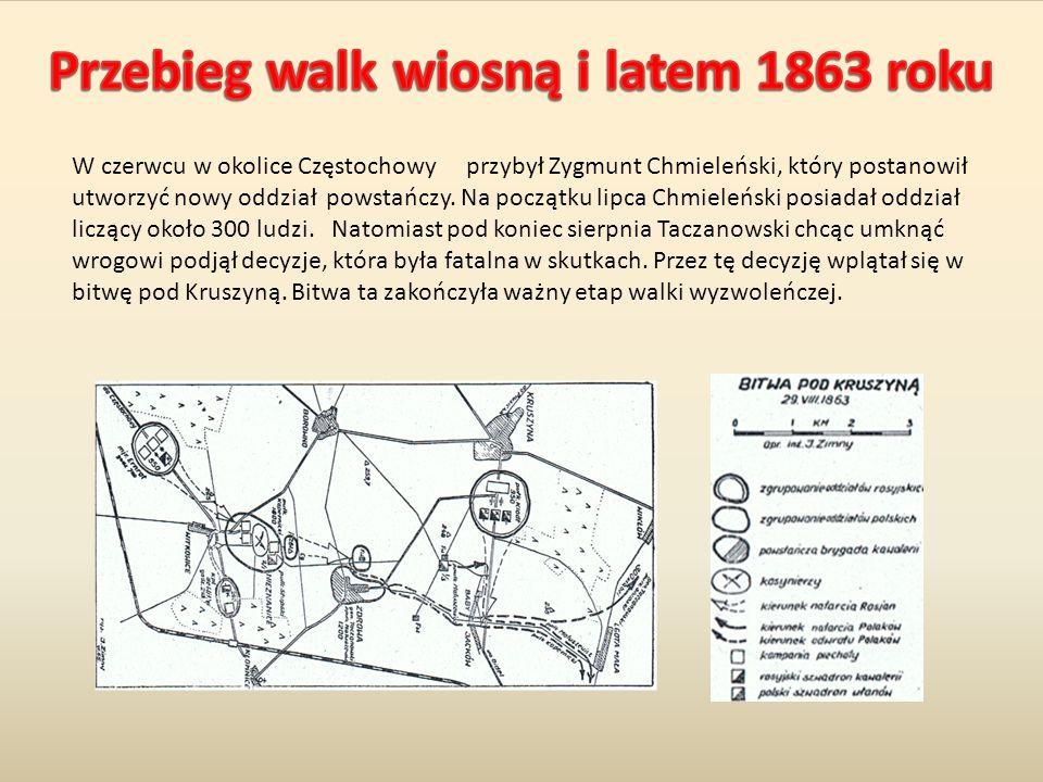 W czerwcu w okolice Częstochowy przybył Zygmunt Chmieleński, który postanowił utworzyć nowy oddział powstańczy. Na początku lipca Chmieleński posiadał