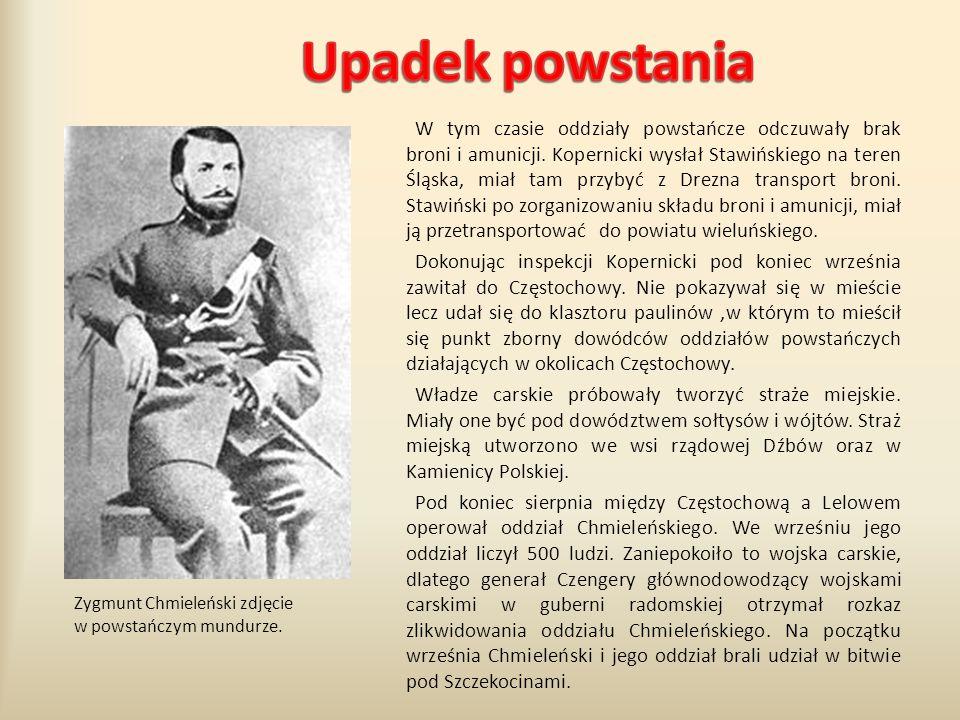 W tym czasie oddziały powstańcze odczuwały brak broni i amunicji. Kopernicki wysłał Stawińskiego na teren Śląska, miał tam przybyć z Drezna transport