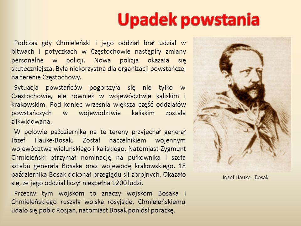 Podczas gdy Chmieleński i jego oddział brał udział w bitwach i potyczkach w Częstochowie nastąpiły zmiany personalne w policji. Nowa policja okazała s