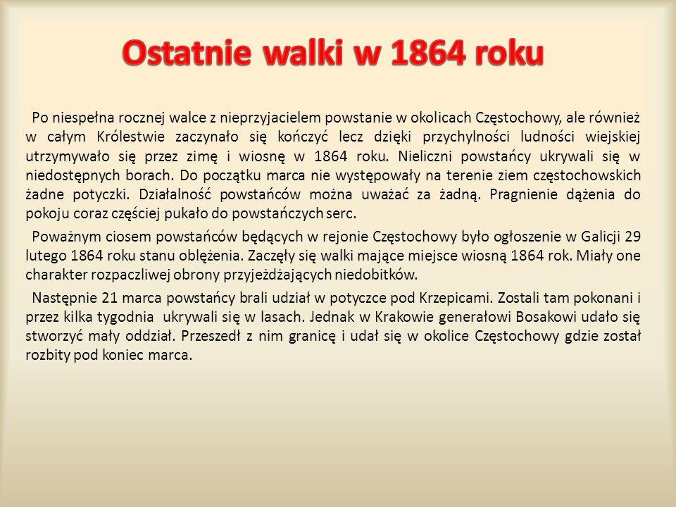 Po niespełna rocznej walce z nieprzyjacielem powstanie w okolicach Częstochowy, ale również w całym Królestwie zaczynało się kończyć lecz dzięki przychylności ludności wiejskiej utrzymywało się przez zimę i wiosnę w 1864 roku.