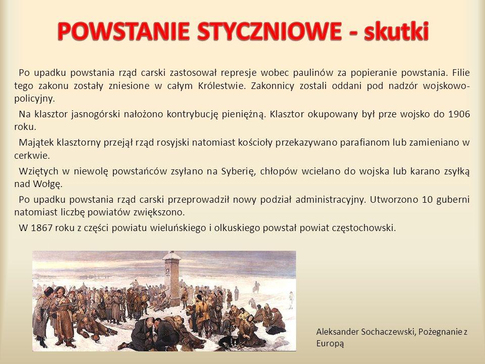 Po upadku powstania rząd carski zastosował represje wobec paulinów za popieranie powstania. Filie tego zakonu zostały zniesione w całym Królestwie. Za