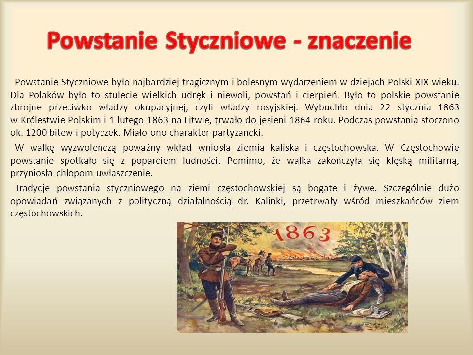 Powstanie Styczniowe było najbardziej tragicznym i bolesnym wydarzeniem w dziejach Polski XIX wieku. Dla Polaków było to stulecie wielkich udręk i nie