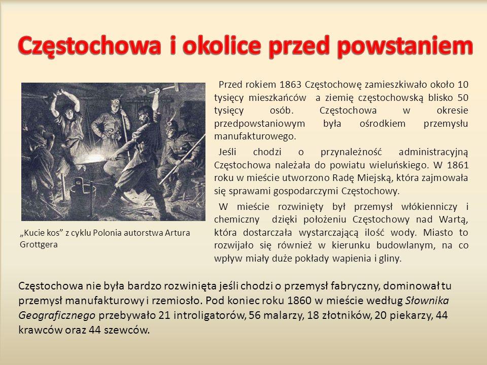 Przed rokiem 1863 Częstochowę zamieszkiwało około 10 tysięcy mieszkańców a ziemię częstochowską blisko 50 tysięcy osób.