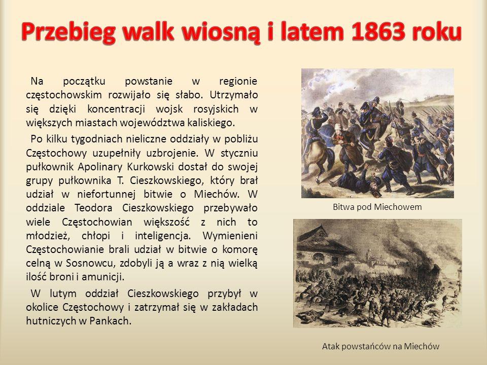 Na początku powstanie w regionie częstochowskim rozwijało się słabo. Utrzymało się dzięki koncentracji wojsk rosyjskich w większych miastach województ