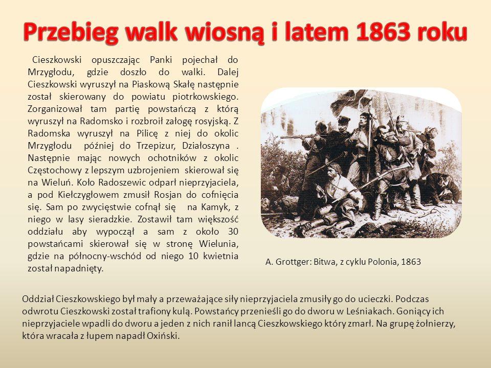 Cieszkowski opuszczając Panki pojechał do Mrzygłodu, gdzie doszło do walki. Dalej Cieszkowski wyruszył na Piaskową Skałę następnie został skierowany d