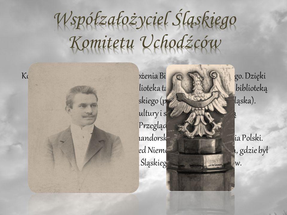 Konstanty Wolny był inicjatorem założenia Biblioteki Sejmu Śląskiego.