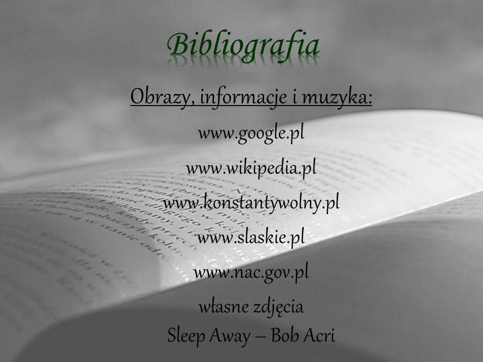 Obrazy, informacje i muzyka: www.google.pl www.wikipedia.pl www.konstantywolny.pl www.slaskie.pl www.nac.gov.pl własne zdjęcia Sleep Away – Bob Acri
