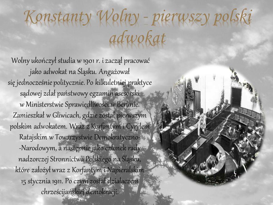 Wolny ukończył studia w 1901 r.i zaczął pracować jako adwokat na Śląsku.