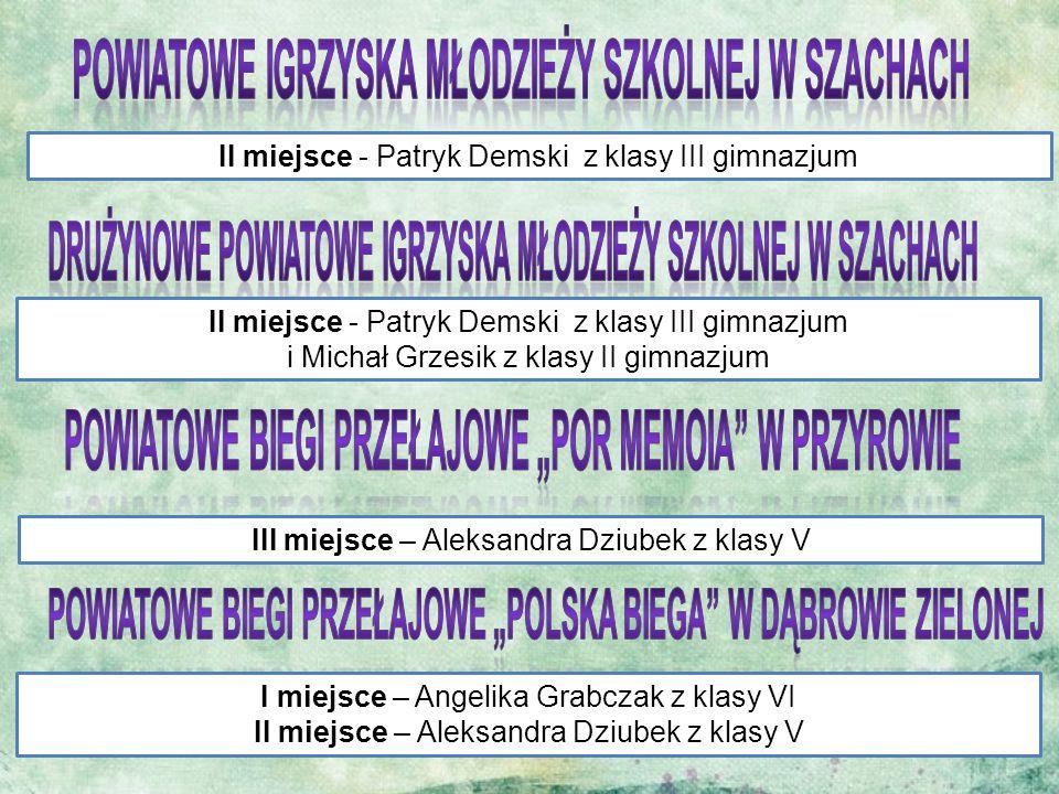 II miejsce - Patryk Demski z klasy III gimnazjum II miejsce - Patryk Demski z klasy III gimnazjum i Michał Grzesik z klasy II gimnazjum III miejsce –