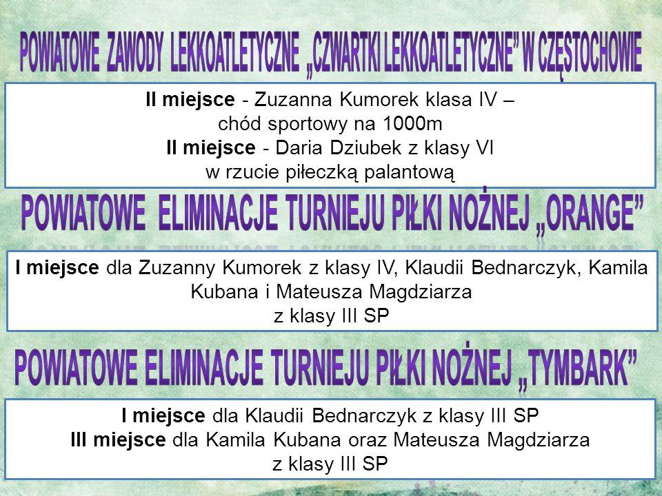 II miejsce - Zuzanna Kumorek klasa IV – chód sportowy na 1000m II miejsce - Daria Dziubek z klasy VI w rzucie piłeczką palantową I miejsce dla Zuzanny