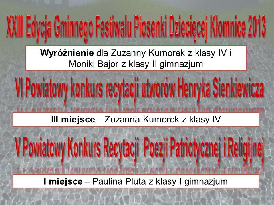 Wyróżnienie dla Zuzanny Kumorek z klasy IV i Moniki Bajor z klasy II gimnazjum III miejsce – Zuzanna Kumorek z klasy IV I miejsce – Paulina Pluta z kl