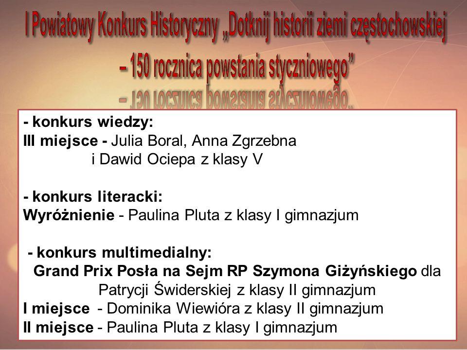 - konkurs wiedzy: III miejsce - Julia Boral, Anna Zgrzebna i Dawid Ociepa z klasy V - konkurs literacki: Wyróżnienie - Paulina Pluta z klasy I gimnazj