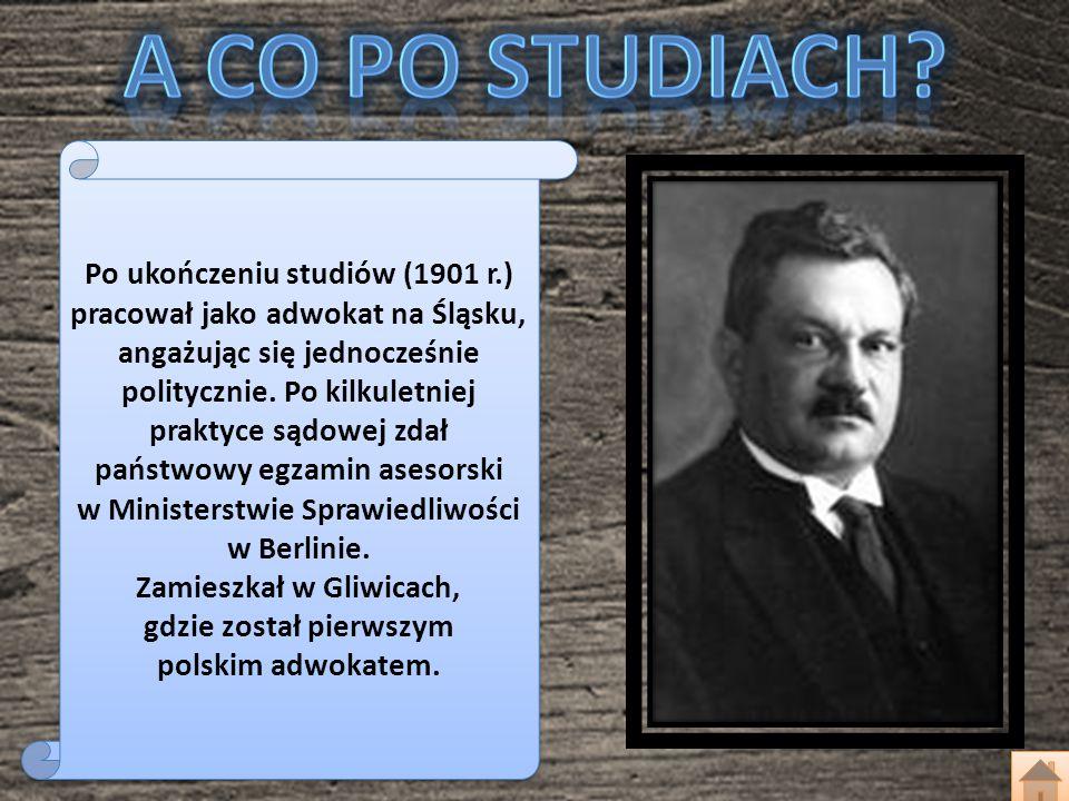 Po ukończeniu studiów (1901 r.) pracował jako adwokat na Śląsku, angażując się jednocześnie politycznie. Po kilkuletniej praktyce sądowej zdał państwo