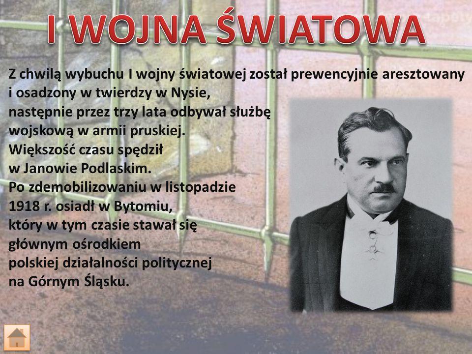 Od roku 1918 działał w Naczelnej Radzie Ludowej, przeniesionej później (1919) z powodu grożących aresztowań, z Bytomia do Sosnowca.