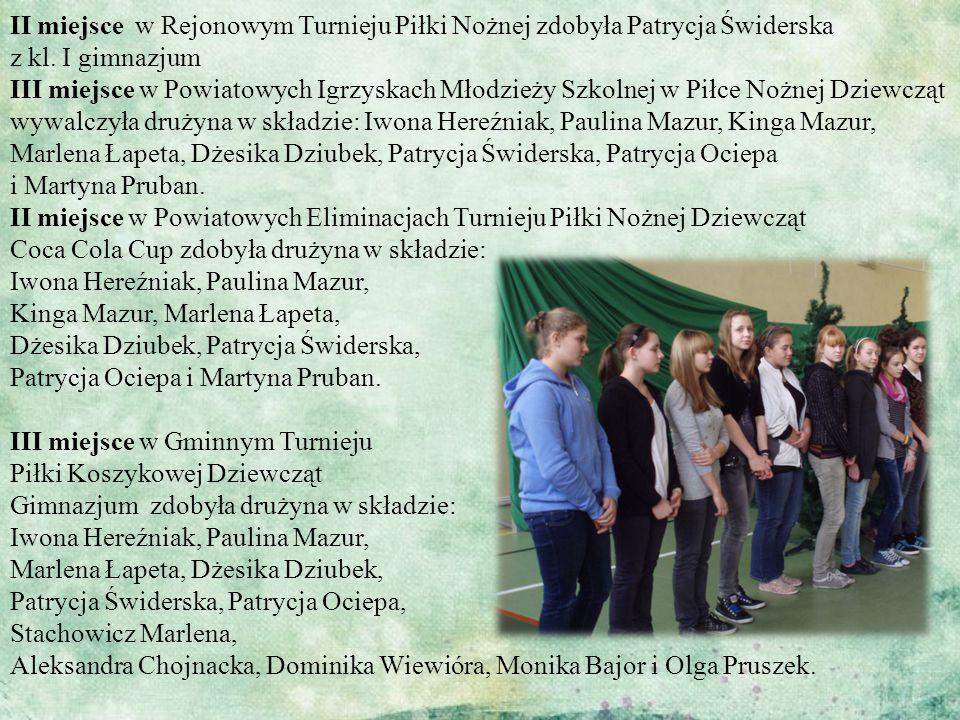 II miejsce w Rejonowym Turnieju Piłki Nożnej zdobyła Patrycja Świderska z kl.