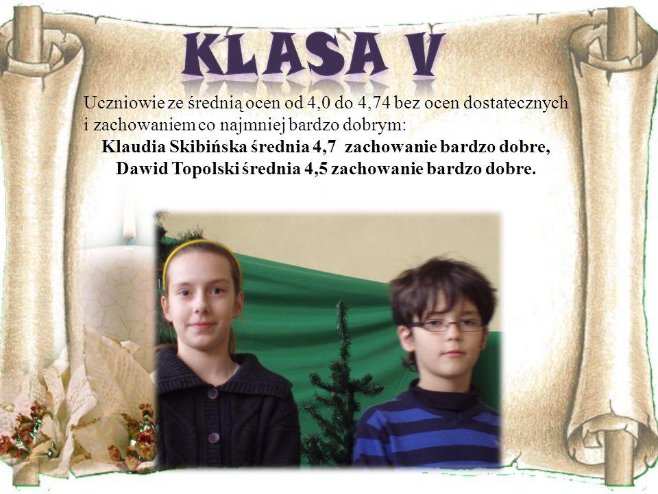 Uczniowie ze średnią ocen od 4,0 do 4,74 bez ocen dostatecznych i zachowaniem co najmniej bardzo dobrym: Klaudia Skibińska średnia 4,7 zachowanie bardzo dobre, Dawid Topolski średnia 4,5 zachowanie bardzo dobre.