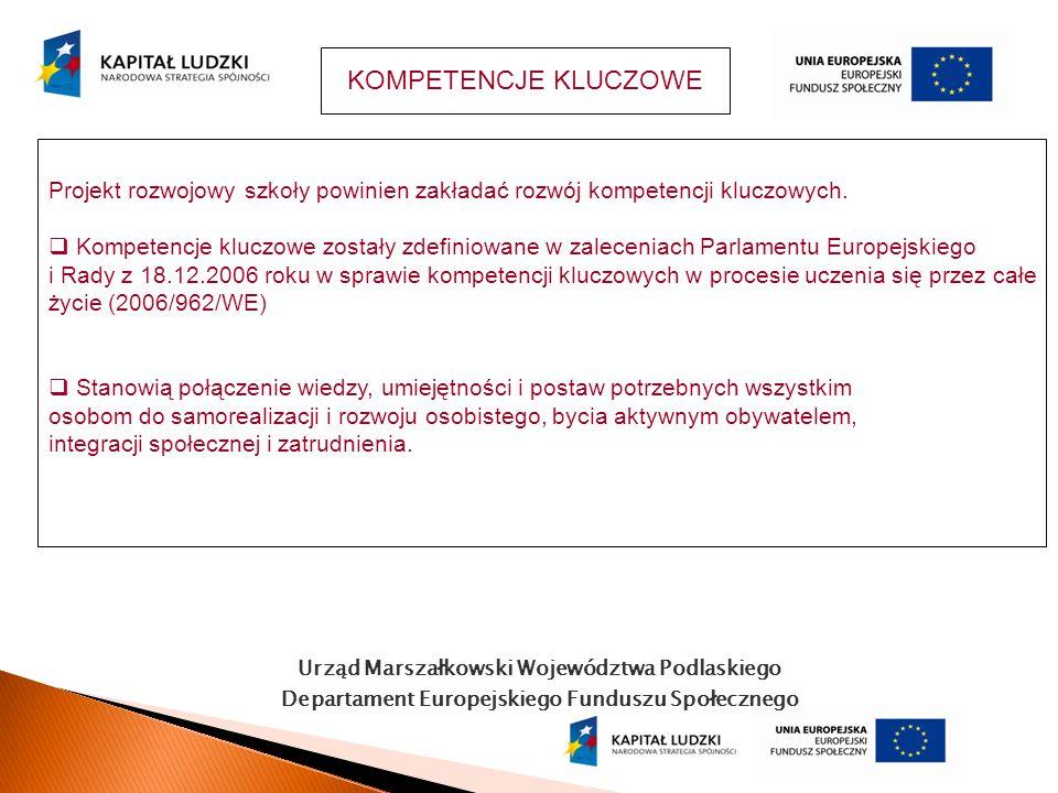Urząd Marszałkowski Województwa Podlaskiego Departament Europejskiego Funduszu Społecznego KOMPETENCJE KLUCZOWE Projekt rozwojowy szkoły powinien zakł