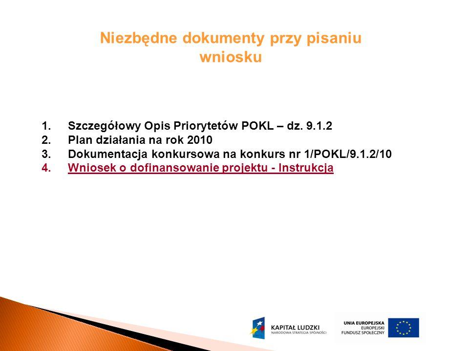 Niezbędne dokumenty przy pisaniu wniosku 1.Szczegółowy Opis Priorytetów POKL – dz. 9.1.2 2.Plan działania na rok 2010 3.Dokumentacja konkursowa na kon