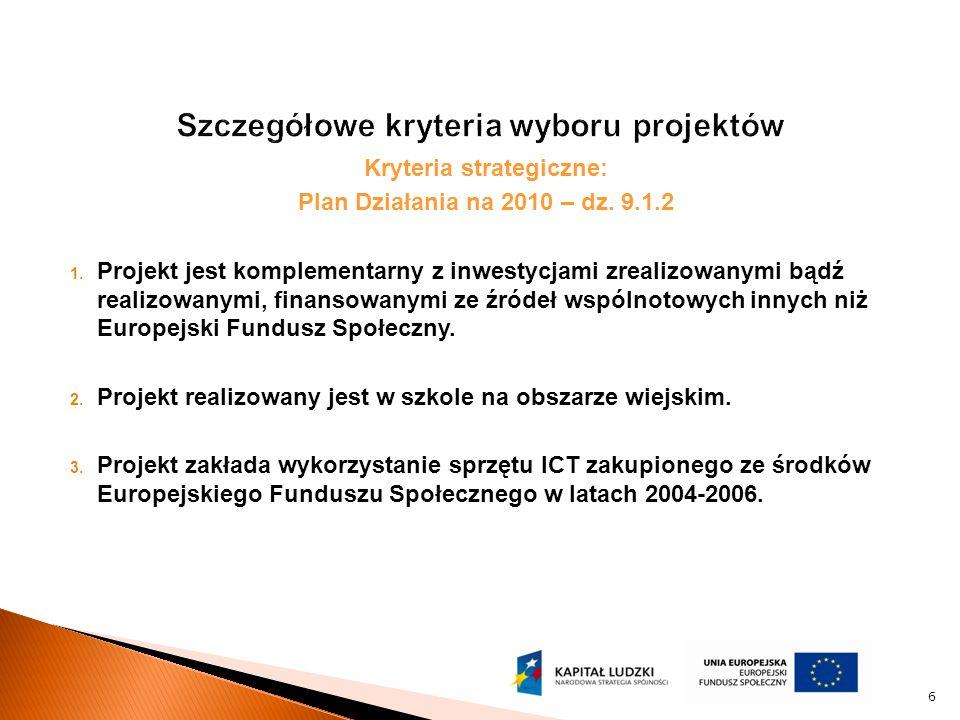 Kryteria strategiczne: Plan Działania na 2010 – dz. 9.1.2 1. Projekt jest komplementarny z inwestycjami zrealizowanymi bądź realizowanymi, finansowany