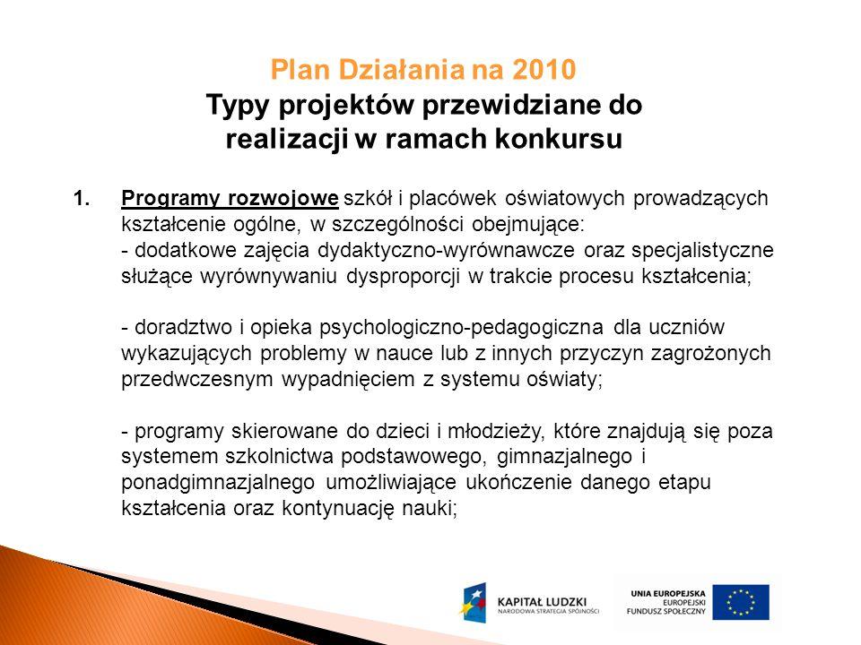 Plan Działania na 2010 Typy projektów przewidziane do realizacji w ramach konkursu 1.Programy rozwojowe szkół i placówek oświatowych prowadzących kszt
