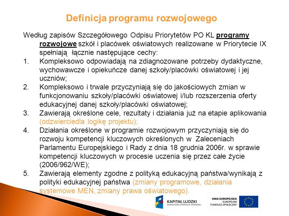 Definicja programu rozwojowego Według zapisów Szczegółowego Odpisu Priorytetów PO KL programy rozwojowe szkół i placówek oświatowych realizowane w Pri