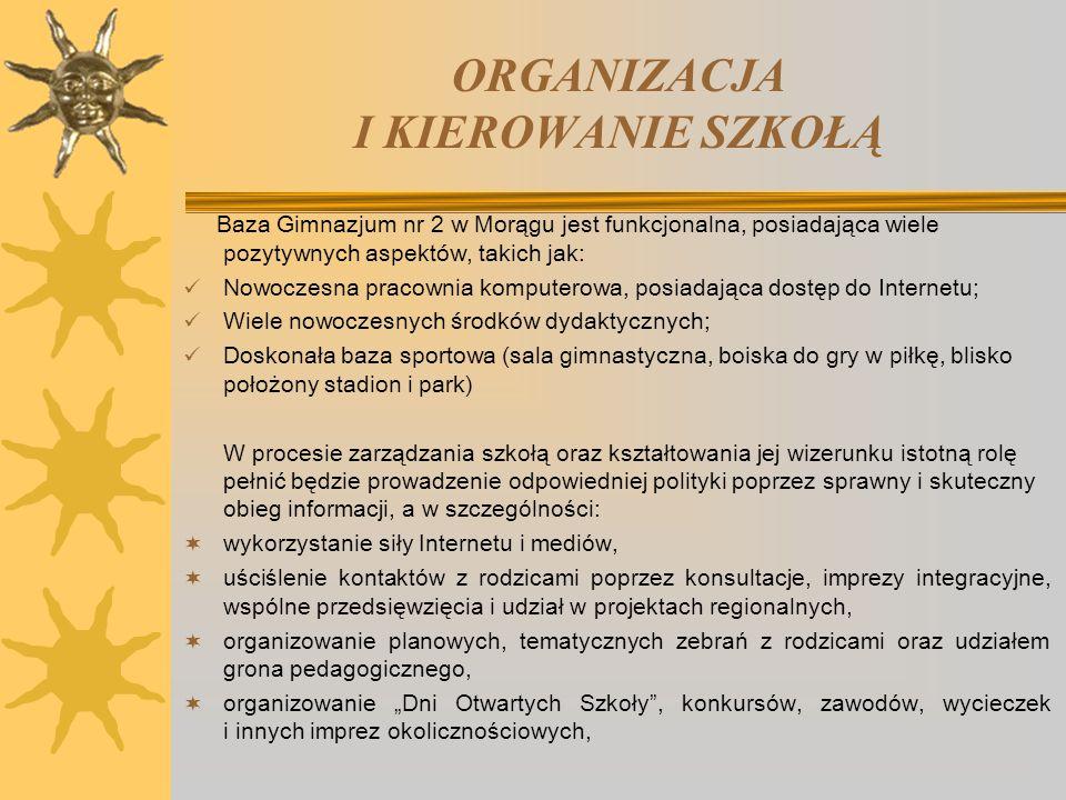 ORGANIZACJA I KIEROWANIE SZKOŁĄ Baza Gimnazjum nr 2 w Morągu jest funkcjonalna, posiadająca wiele pozytywnych aspektów, takich jak: Nowoczesna pracown