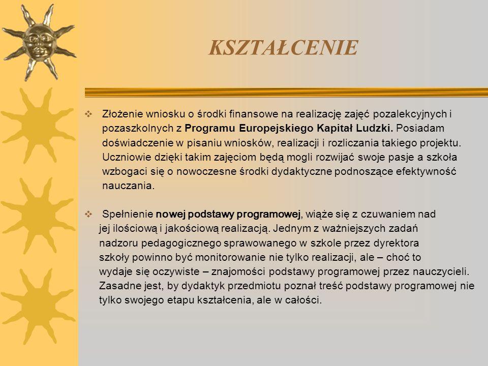 KSZTAŁCENIE  Złożenie wniosku o środki finansowe na realizację zajęć pozalekcyjnych i pozaszkolnych z Programu Europejskiego Kapitał Ludzki. Posiadam