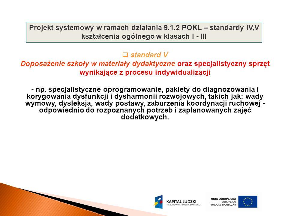  standard V Doposażenie szkoły w materiały dydaktyczne oraz specjalistyczny sprzęt wynikające z procesu indywidualizacji - np. specjalistyczne oprogr