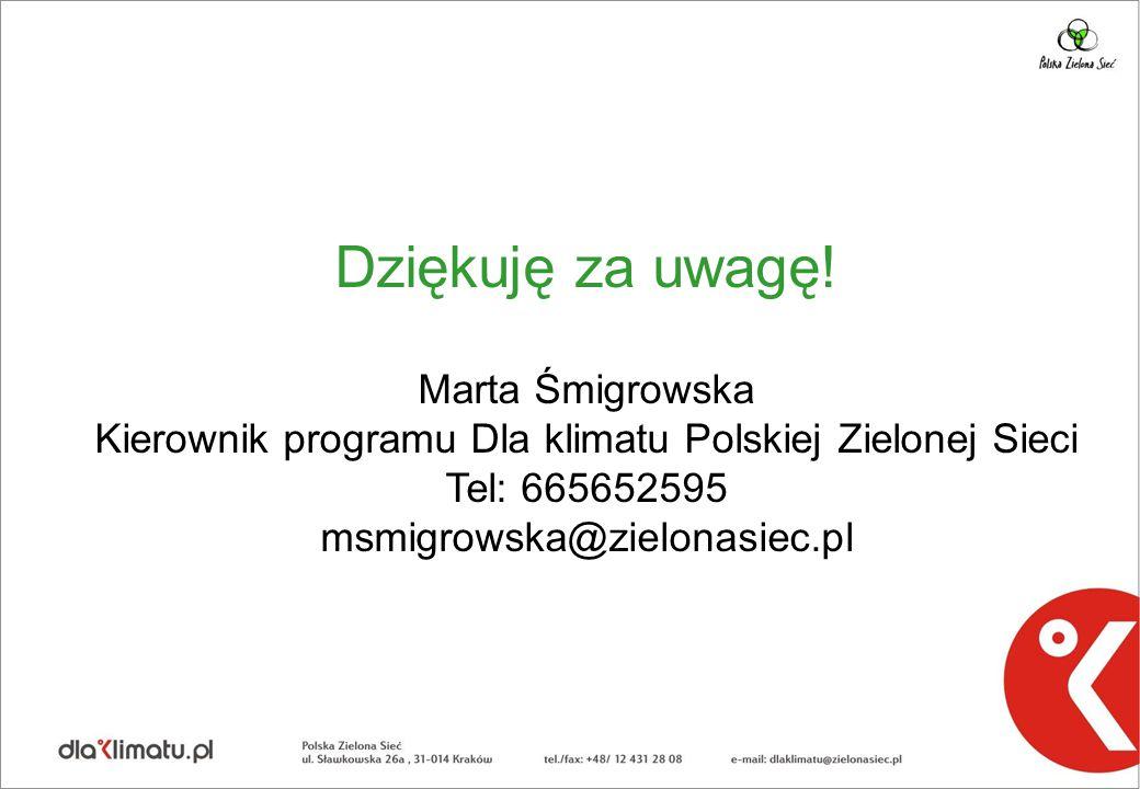 Dziękuję za uwagę! Marta Śmigrowska Kierownik programu Dla klimatu Polskiej Zielonej Sieci Tel: 665652595 msmigrowska@zielonasiec.pl