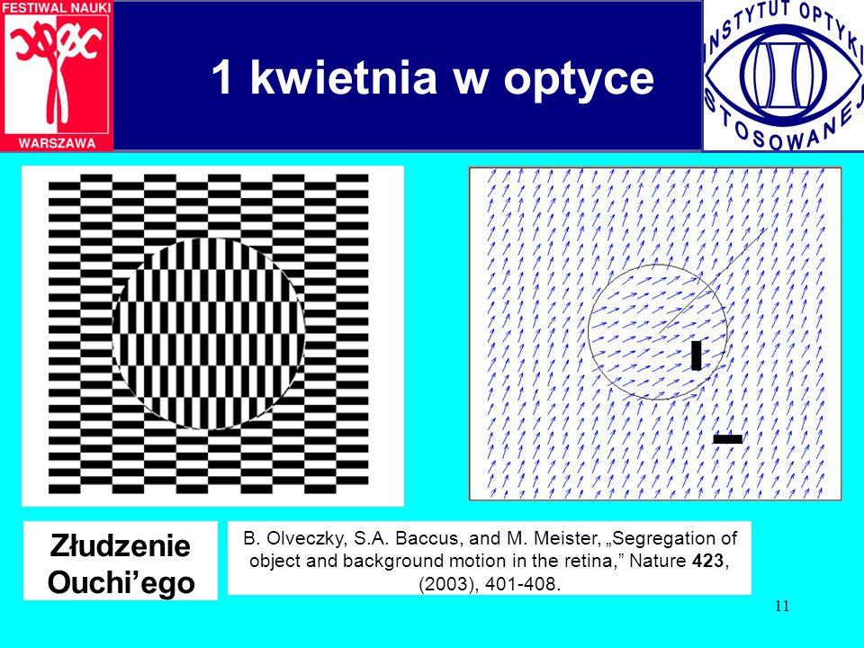 11 Złudzenie Ouchi'ego 1 kwietnia w optyce B.Olveczky, S.A.