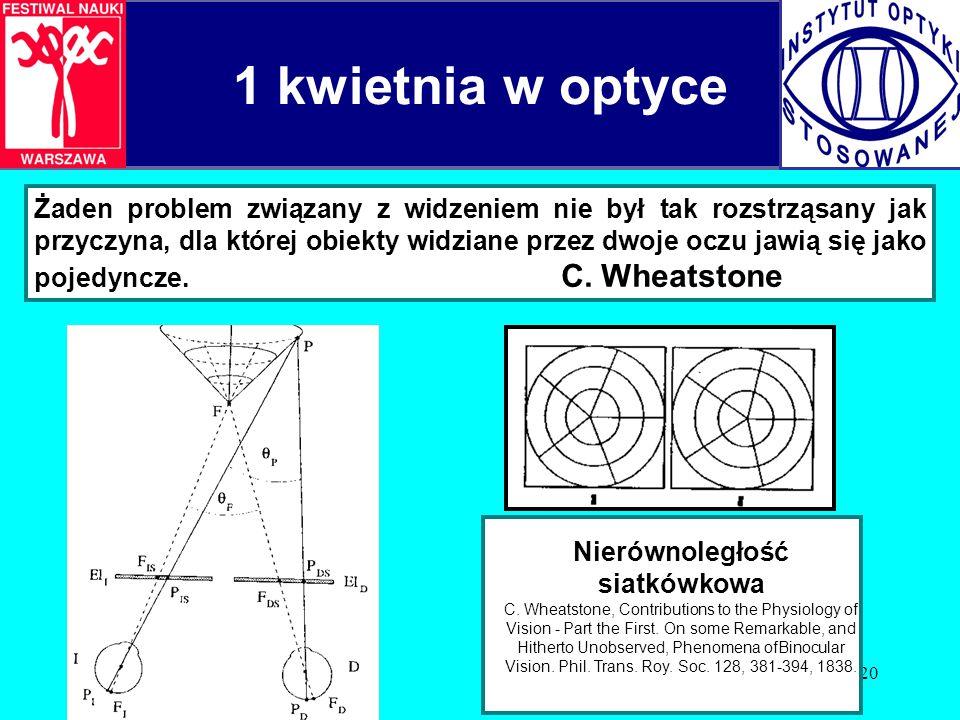 20 Żaden problem związany z widzeniem nie był tak rozstrząsany jak przyczyna, dla której obiekty widziane przez dwoje oczu jawią się jako pojedyncze.