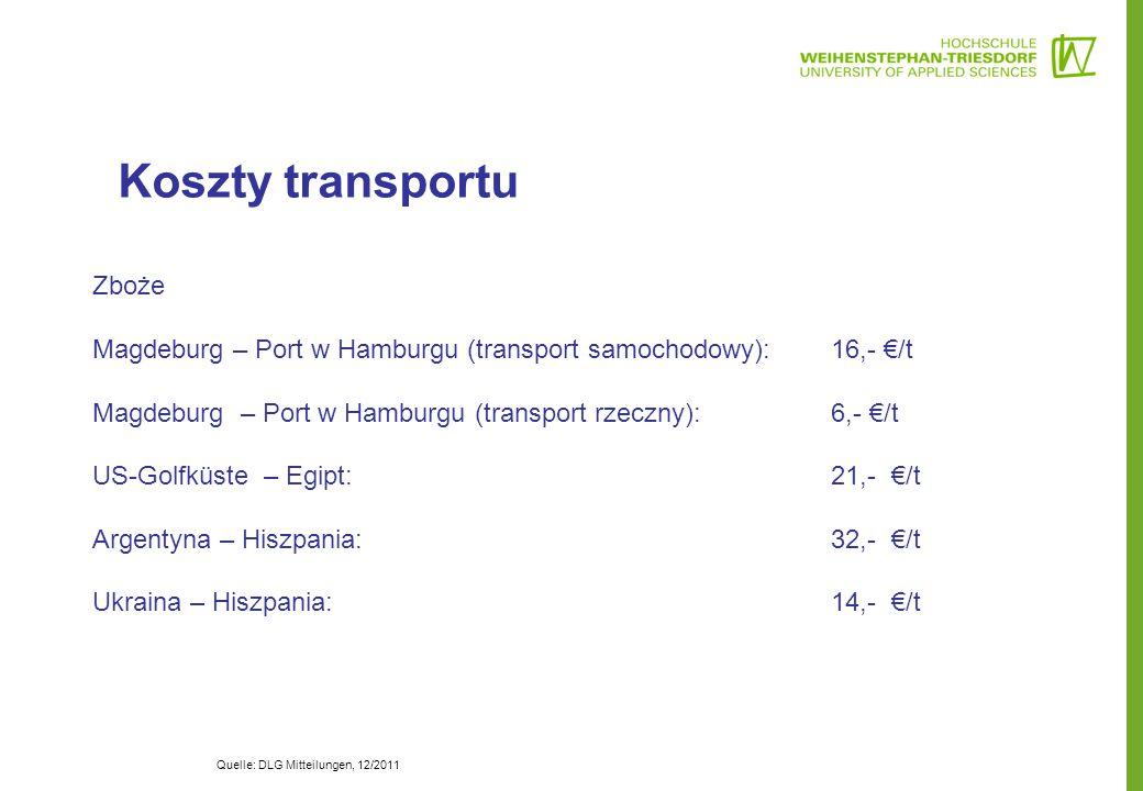 Koszty transportu Zboże Magdeburg – Port w Hamburgu (transport samochodowy): 16,- €/t Magdeburg – Port w Hamburgu (transport rzeczny): 6,- €/t US-Golf