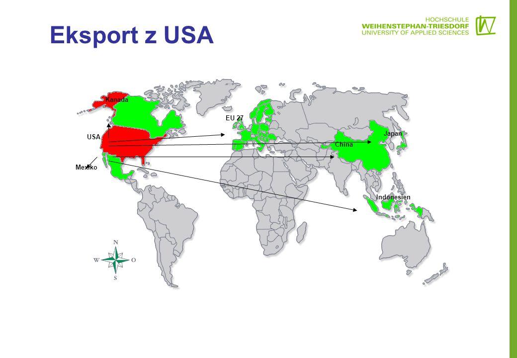 Eksport z USA Mexiko Kanada EU 27 China Japan Indonesien USA