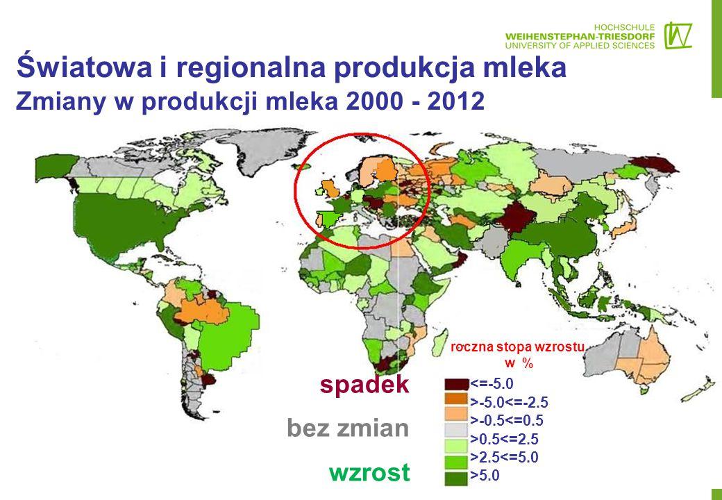 Weltweite und regionale Erzeugung Veränderungen in der Milchproduktion 2000-2012 roczna stopa wzrostu w % <=-5.0 >-5.0<=-2.5 >-0.5<=0.5 >0.5<=2.5 >2.5