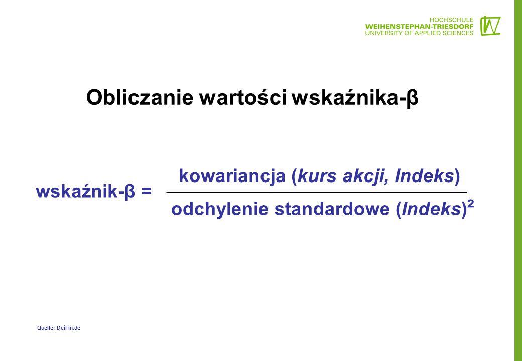 Obliczanie wartości wskaźnika-β wskaźnik-β = kowariancja (kurs akcji, Indeks) odchylenie standardowe (Indeks) ² Quelle: DeiFin.de