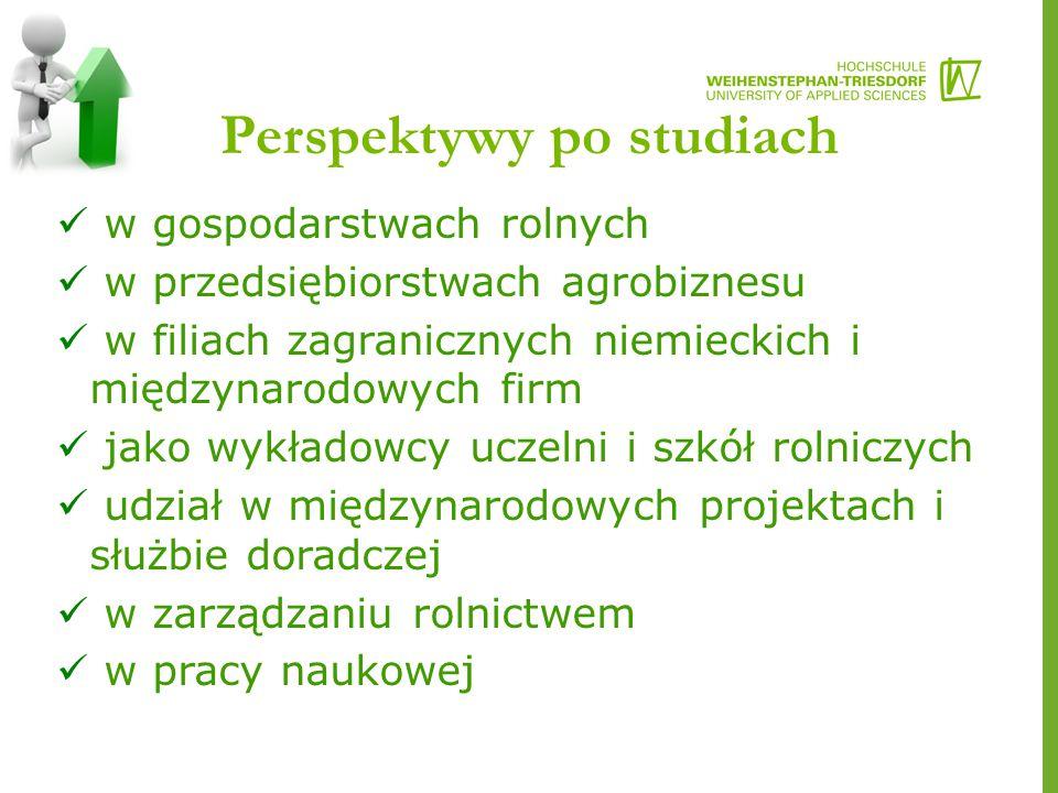 Perspektywy po studiach w gospodarstwach rolnych w przedsiębiorstwach agrobiznesu w filiach zagranicznych niemieckich i międzynarodowych firm jako wykładowcy uczelni i szkół rolniczych udział w międzynarodowych projektach i służbie doradczej w zarządzaniu rolnictwem w pracy naukowej