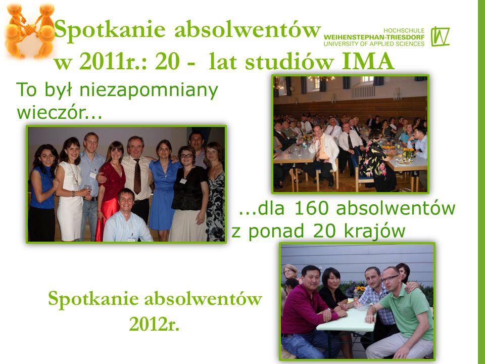 Spotkanie absolwentów w 2011r.: 20 - lat studiów IMA...dla 160 absolwentów z ponad 20 krajów To był niezapomniany wieczór...