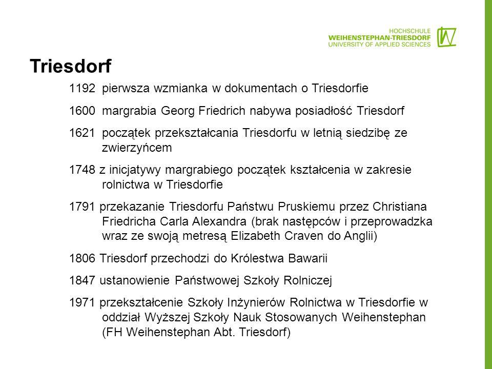 Triesdorf 1192pierwsza wzmianka w dokumentach o Triesdorfie 1600 margrabia Georg Friedrich nabywa posiadłość Triesdorf 1621początek przekształcania Triesdorfu w letnią siedzibę ze zwierzyńcem 1748 z inicjatywy margrabiego początek kształcenia w zakresie rolnictwa w Triesdorfie 1791 przekazanie Triesdorfu Państwu Pruskiemu przez Christiana Friedricha Carla Alexandra (brak następców i przeprowadzka wraz ze swoją metresą Elizabeth Craven do Anglii) 1806 Triesdorf przechodzi do Królestwa Bawarii 1847 ustanowienie Państwowej Szkoły Rolniczej 1971 przekształcenie Szkoły Inżynierów Rolnictwa w Triesdorfie w oddział Wyższej Szkoły Nauk Stosowanych Weihenstephan (FH Weihenstephan Abt.