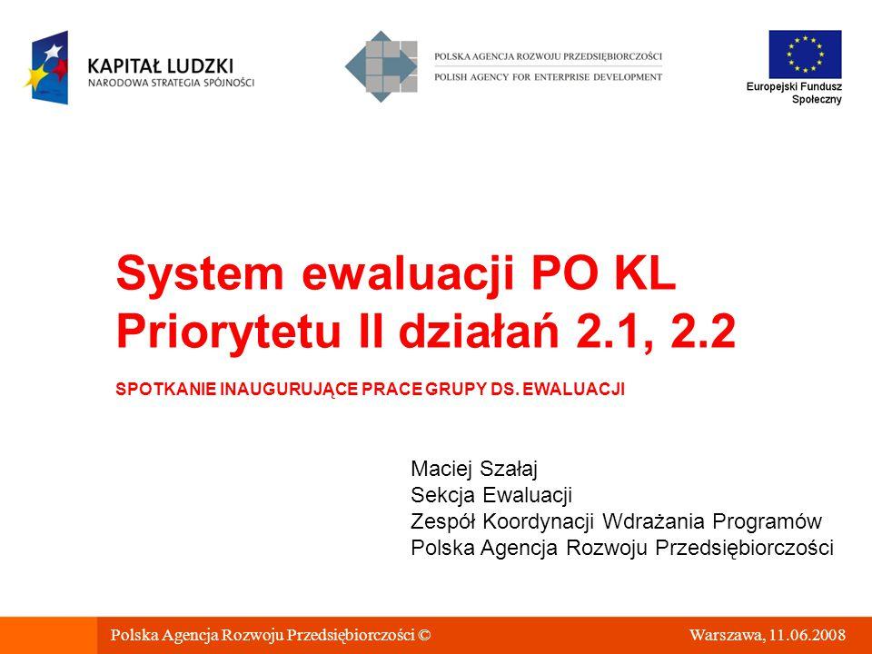 Polska Agencja Rozwoju Przedsiębiorczości © Warszawa, 11.06.2008 System ewaluacji PO KL Priorytetu II działań 2.1, 2.2 SPOTKANIE INAUGURUJĄCE PRACE GRUPY DS.