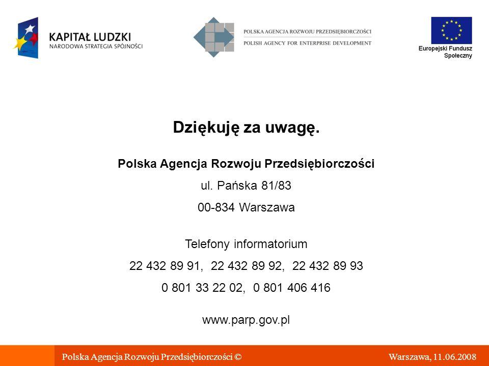 Warszawa, 11.06.2008 Dziękuję za uwagę.Polska Agencja Rozwoju Przedsiębiorczości ul.