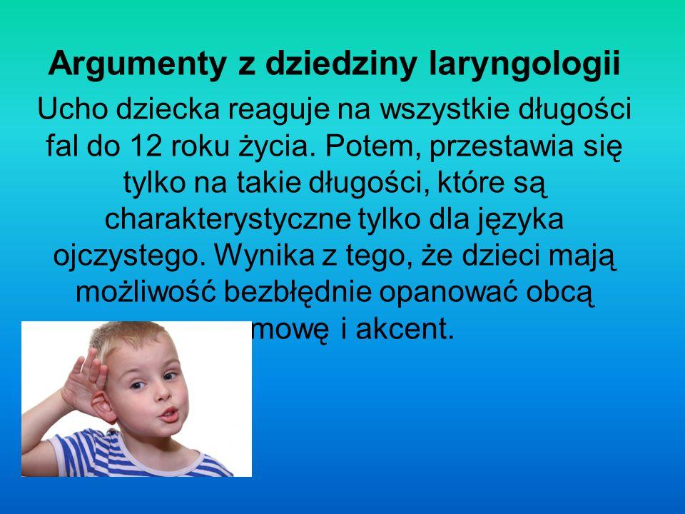 Argumenty z dziedziny laryngologii Ucho dziecka reaguje na wszystkie długości fal do 12 roku życia. Potem, przestawia się tylko na takie długości, któ
