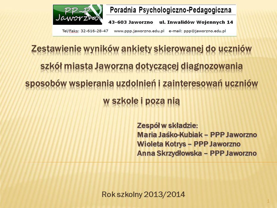 Rok szkolny 2013/2014 1 Zespół w składzie: Maria Jaśko-Kubiak – PPP Jaworzno Wioleta Kotrys – PPP Jaworzno Anna Skrzydłowska – PPP Jaworzno