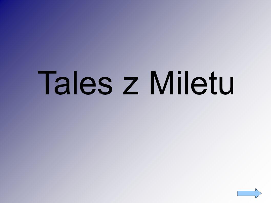 Spis treści ● Tytuł Tytuł ● Tales z Miletu Tales z Miletu ● Tezy Talesa Tezy Talesa ● Twierdzenie TalesaTwierdzenie Talesa ● Inne odkrycia matematyczne Inne odkrycia matematyczne ● Ciekawostki Ciekawostki ● Portret Portret ● Źródło Źródło